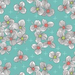Lexi Spaced Floral Aqua