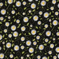 Sunflower Daisy Vines Black