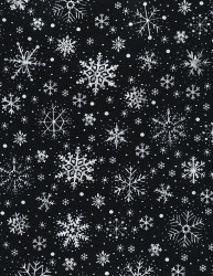 Silent Night Snowflake Black