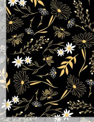 Save the Bees Large Floral Blk