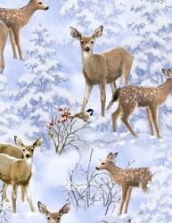Winter Woodland Deer