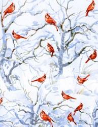 Winter Woodland Cardinal Snow