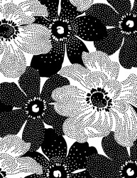 Inked Dotted Flowers Wht Blk