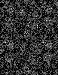 Inked Paisley Doodles Black