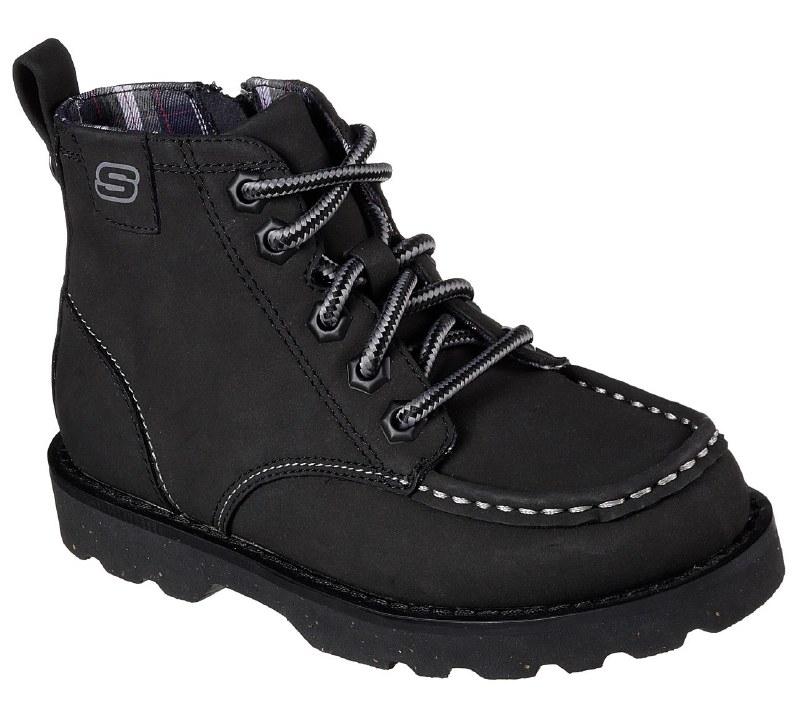 cantidad de ventas télex Won  Skechers Bowland Timberpine Black Kids Boots Side Zipper Black 93636L/BLK.  012. - Shoes Right Here