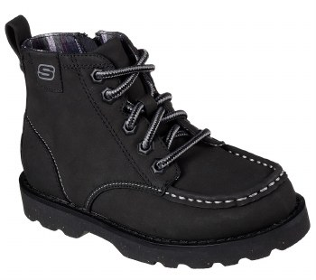 Skechers Bowland Timberpine Black Kids Boots Side Zipper Black 93636L/BLK. 012.