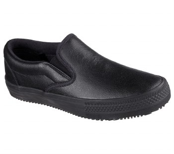 Safety meets cool casual style in the SKECHERS Work Relaxed Fit®: Gibson - Brogna SR shoe. Smooth leather upper in a slip on casual classic slip resistant work sneaker with stitching and overlay accents.10.0