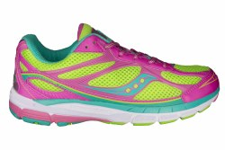 SAUCOMY Ride 7 slime/magenta/teal Big Kids Running Shoes 4.5