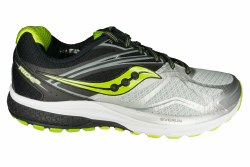 SAUCONY Ride 9 silver/black/lime Mens Running Shoes 09.5