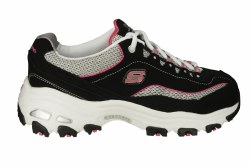 SKECHERS DLites-Life Saver wide black/white/pink Womens Training Shoes 06.0