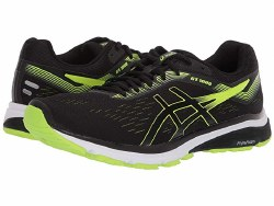 Asics Mens GT-1000 7 Black hazard Green  Exceptional performance meets incredible value. balanced support and guided stability , DOUMAX support system ORTHOLITE sockliner08.0