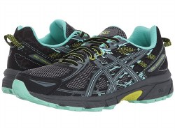 Asics Gel Venture 6 Black Carbon Neon Lime Womens Trail Running Shoes 08.5