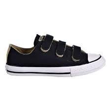 Converse All Star Black White 3 Strap Velcro013.