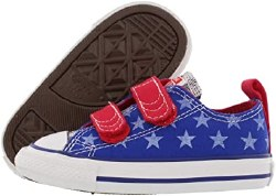 Converse CT V2 Ox Radio Blue Red Toddlers 2 strap Velcro 02.0
