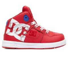 DC Pure Hi Top Red White Toddler Skate Shoes07.0