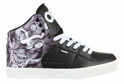 Osiris Echo Mid Top Skate Shoe Huit Mask Black White Classic , Stylish, Durable, Artist series10.0