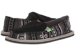 Sanuk Donna Sherpa Blanket Black white , Brand Names , Low Prices , Quality shoes , slip on sidewalk surfers07.0