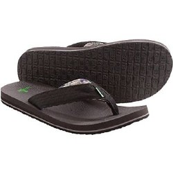 Sanuk Lei'd Back Flip Flop Black Distressed Flag SMS10820S 07.0