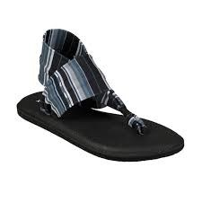 Sanuk Yoga Sling 2 Black White Blanket Slip on the squishiest sandals ever. comfort and style , cozy cloth straps07.0