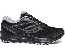 Saucony Cohesion TR13 Black Grey Blue Womens Wide Trail Running shoes 06.0