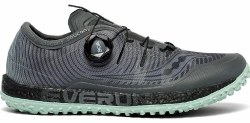 Saucony Womens Switchback Grey Mint  Light weight race ready shoes BOA lacing system Ultra grippy PWRTRAC Outsole for traction 07.0