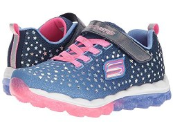 She'll want to leap high as the starry sky wearing the SKECHERS Skech-Air - Star Jumper shoe. Skech Knit Mesh fabric upper in a slip on athletic walking and training shoe with unique visible air cushioned outsole. Air Cooled Memory Foam insole.4.0
