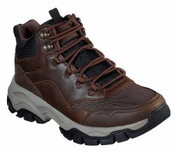 Skechers mens Hiking Boots Relaxed fit, leather and mesh, air cooled memory foam 66254 Brown 09.0