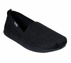 Skechers Bobs Instant Shine Black Soft Woven Flat With Stitching Accents  and Memory Foam Stylish and Comfortable  34465 BLK Skechers06.0