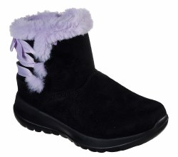 Skechers Bow rific  Cool Weather Boots with goga max insoles . soft suede textured microfiber uppers . side zipper, soft faux fur collar trim 4.0