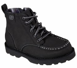 Skechers Bowland Timberpine Black Kids Boots Side Zipper Black 93636L/BLK. 012.