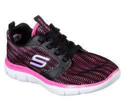 Skechers Busy Breezy Black Neon Pink Girls Running Shoes 81682L/BKNP 011.