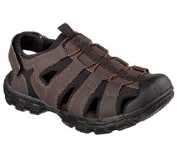 Tame the trails in sporty style and comfort with the SKECHERS Conner sandal. Smooth faux leather and neoprene fabric upper in a slip on closed toe comfort trail style sandal with stitching accents and rubber toe cap. . 08.0