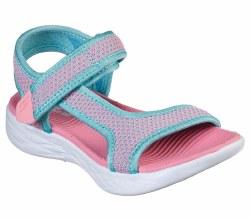 Skechers Little Girls Sandals Crush Brights Aqua Pink 011.