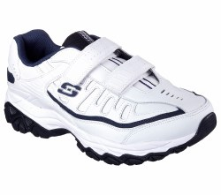 Skechers velcro Walking Shoes White Navy Extra Wide Memory Foam 50121EWW/WNV 08.
