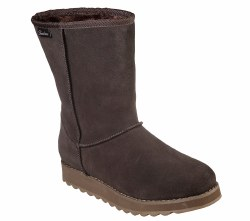 Skechers first flurry , soft suede upper mid calf cool weather slip on boot. memory foam insole water resistant leather 8 inch shaft 06.0
