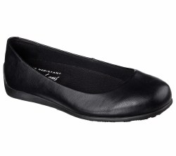 Skechers Flattery Transpire Black Womens Work Shoes Slip Resistent 76554/BLK. 06.5