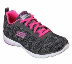Skechers flex appeal 3.0 Black hot pink  kick your workouts uo a notch .  skech knit soft nearly ome piece fabric .07.0