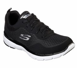 Skechers Flex Appeal 3.0 Black White Sporty Walking Shoes From Skechers   Comfortable flexible durable , Air cooled memory foam insoles padded tongue and collar lightweight Super flexible traction outsole06.0