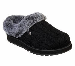 Skecher Bobs Ice Storms Soft Sweater Knit Fabric Upper Slip On Casual Comfort Clog Faux Fur Slipper06.5