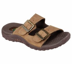 Get mellow and soothing comfort for your feet in the SKECHERS Reggae-Jammin sandal. Smooth oiled leather upper in a two strap slide sandal with stitching accents and dual adjustable metal buckles for added comfort.. 05.0