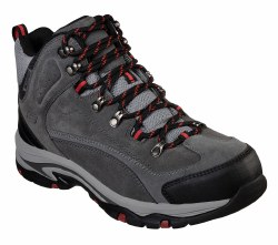 Skechers Marso Grey Hiking Boot Waterproof soft sport suede and mesh uppers lace up waterproof air cooled memory foam padded collar and tongue08.0