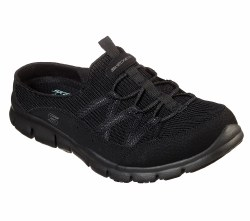 Skechers real story sporty casual low backed sneaker clog . memory foam , padded collar , soft fabric shoe liner 23777 BBK 06.0