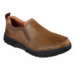 Skechers Ryler Merano Casual Dress Slip On Shoe Brown Smooth oilled leather uppr,mesh fabric accentsat collar and instepwalk futher in refined style and air cushioned comfort with this skecher style07.0