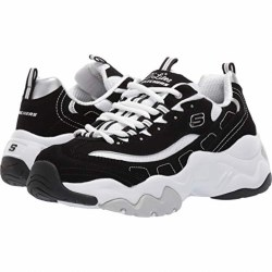 Skechers Womens D'Lites 3.0 Black White 07.0