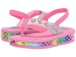 Skechers sunshines pink silver multi toddlers sandals incredibily cute light up sandals back strap for stay put wearing 05.0