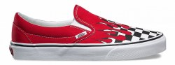 Vans Classic slip on in Checkered flames , racing red/true white feel the wind rush by your face as you pass the chekered flag in your Vans Classic Slip ons04.5