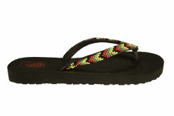 VANS Hanelei Lux (rasta beads) black/chilli pepper Womens Flip-Flop Sandals 06