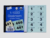 CLOAKROOM TICKETS 1-1000 GREEN