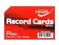 RECORD CARDS 6X4 WHITE PLAIN