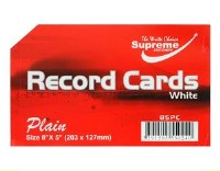 RECORD CARDS 8X5 WHITE PLAIN